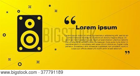 Black Stereo Speaker Icon Isolated On Yellow Background. Sound System Speakers. Music Icon. Musical