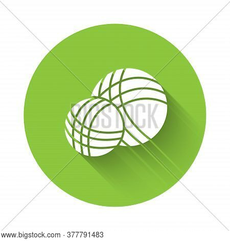 White Yarn Ball Icon Isolated With Long Shadow. Label For Hand Made, Knitting Or Tailor Shop. Green