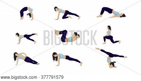 Set Of Vector Isolated Images Of A Girl Who Does Exercises For The Buttocks And Hips. Eight Poses Na