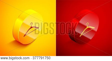 Isometric Hanger Wardrobe Icon Isolated On Orange And Red Background. Cloakroom Icon. Clothes Servic