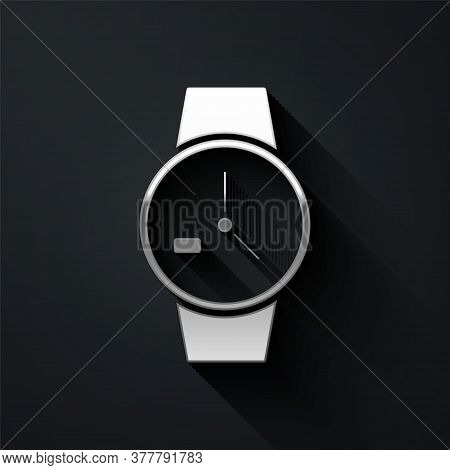 Silver Wrist Watch Icon Isolated On Black Background. Wristwatch Icon. Long Shadow Style. Vector Ill