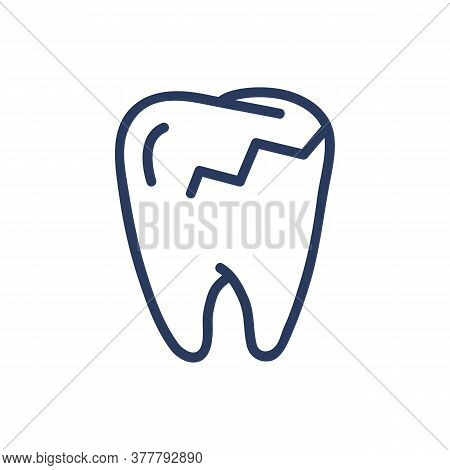 Caries Thin Line Icon. Damaged Enamel, Sick Tooth, Crack Isolated Outline Sign. Dental Care, Dentist