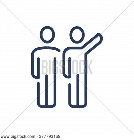Person Showing Something To Partner Thin Line Icon. Two People Standing Close, Pointing Hand Isolate