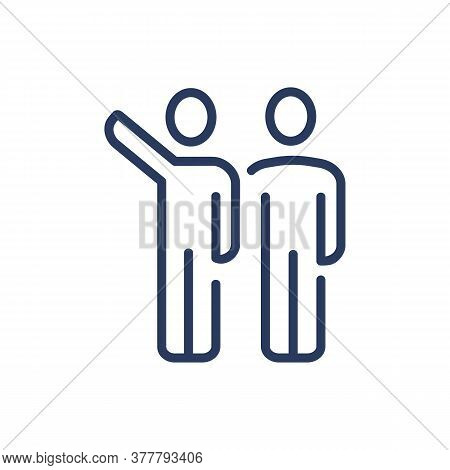 Person Pointing Hand At Something Thin Line Icon. Two People Standing Close, Business Partners Isola