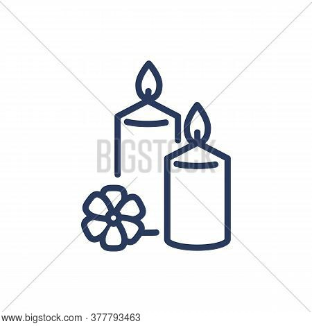 Aroma Candles Thin Line Icon. Lotus Flower, Burning, Flame Isolated Outline Sign. Wellness, Spa Salo