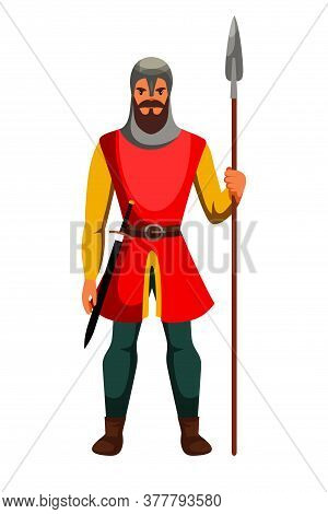 Medieval Armed Knight Guard Man Isolated On White. Armor Guarding Male Character With Spear In Hand