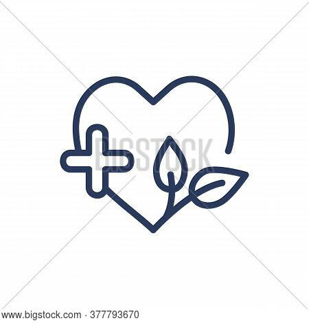 Medical Spa Center Thin Line Icon. Heart, Herb, Leaf, Cross Isolated Outline Sign. Wellness, Spa Sal