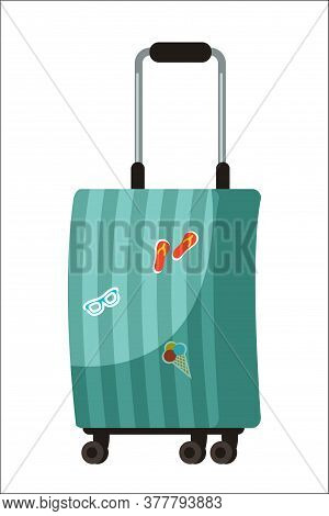 Travel Baggage Suitcase Isolated On White Background. Old Vintage Briefcase With Sightseeing Attract