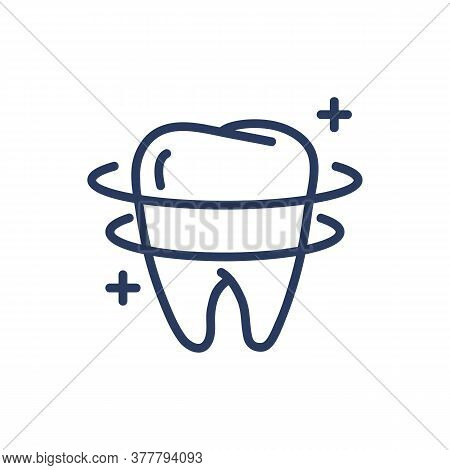 Teeth Whitening Thin Line Icon. Orbit, Shining, Protection Isolated Outline Sign. Dental Care, Healt