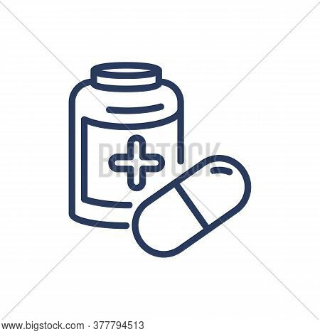 Medical Drugs Thin Line Icon. Pill, Open Bottle, Medication Isolated Outline Sign. Treatment, Cure,