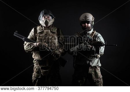 American Special Forces, Two Soldiers In Military Uniform With Weapons On A Dark Background, Elite T