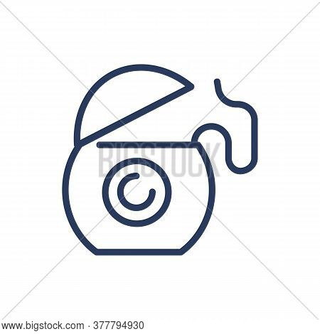 Dental Floss Thin Line Icon. Teeth Cleaning, Mouth, Oral Hygiene, Caries Prevention Isolated Outline