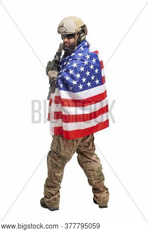 Usa Special Forces In Military Equipment And With Weapons Standing On A White Background, American S