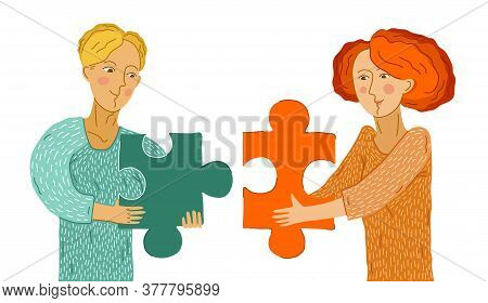 Young Couple Man And Woman With Puzzle Pieces In Their Hands Are Building Relationship By Matching E