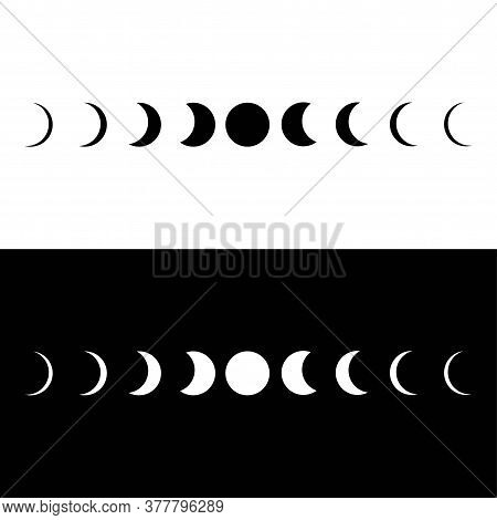 Moon Phases Astronomy Icons Set On White Or Black Backgound