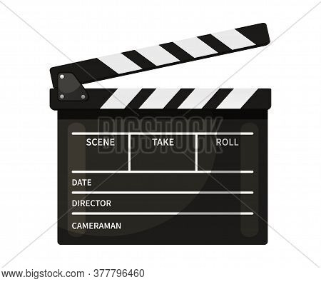 Clapperboard Vector Illustration. Black And White Movie Slate Isolated Clipart On White Background.
