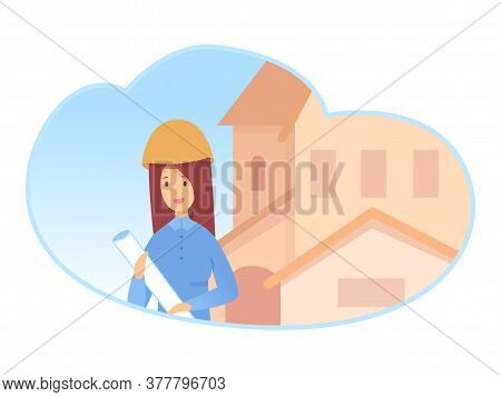 Young Woman Builder In Helmet Holding Paper Document In Hand Standing Near Building Apartment House.