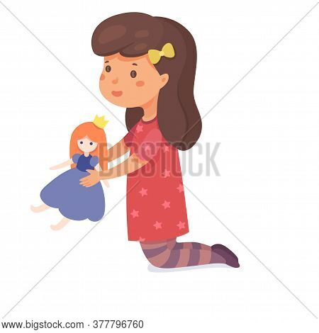 Young Preschool Girl Playing Doll Toy Princess Isolated On White Background. Happy Child Character A