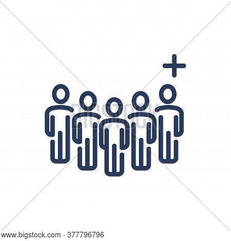 Group Of Users And Add Friend Thin Line Icon. Crowd, Community, Plus, Cross Isolated Outline Sign. P