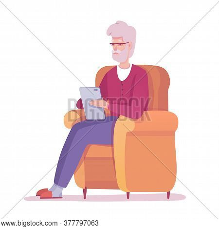 Old Senior Man With Digital Tablet, E-book Reader Sitting On Armchair. Mobile Library Application Fo