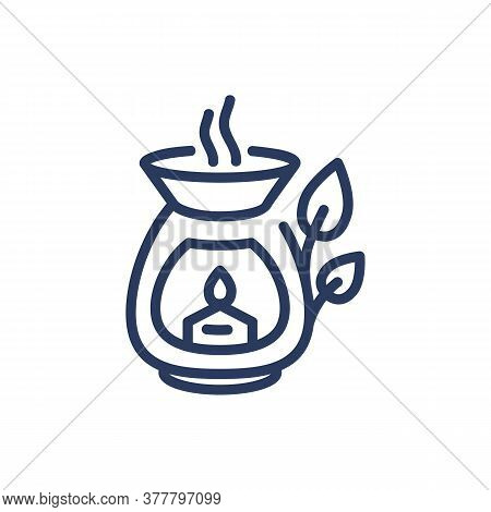Aroma Candle Thin Line Icon. Herb, Smoke, Lantern, Burning, Flame Isolated Outline Sign. Wellness, S