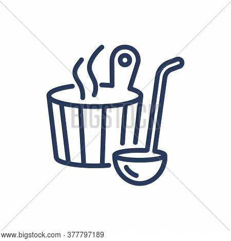 Sauna Thin Line Icon. Bucket, Hot Steam, Ladle Isolated Outline Sign. Fitness, Wellness, Spa Salon,