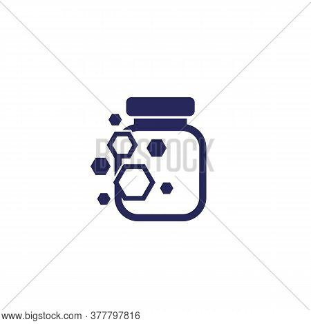 Nano Substance In Bottle, Vector Icon, Eps 10 File, Easy To Edit