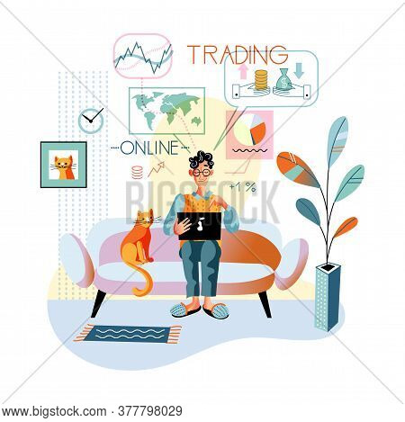 Man Trader Working On Laptop At Home. Guy Broker Freelancer Analyzing Information, Financial Graph A
