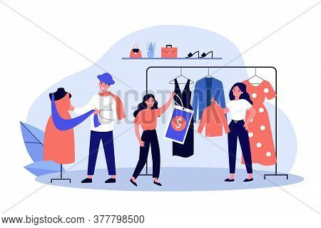 Shop Sellers And Assistance Hanging Clothes And Price Tags On Racks. Main Master Designer Dressing M