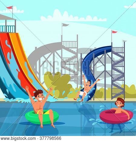 Amazing Aqua Park For Adult And Kid Recreation. Cheerful Family And Children Riding From Slide Pipe