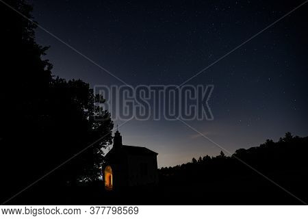 Zdimerice, Czech Republic - July 22, 2020. Night Photo Of Chapel Of The Holy Name Of The Virgin Mary