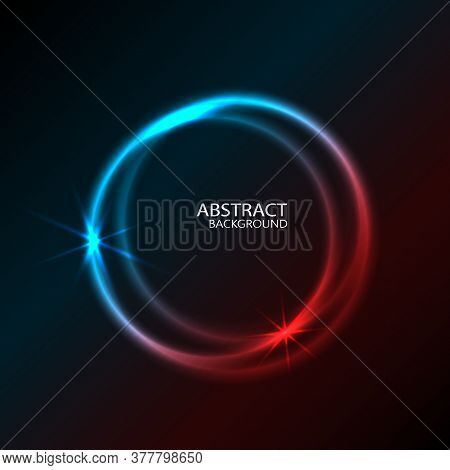 Vector Design Vibrant Neon Circle With Glow. Modern Round Frame With Empty Space For Text. Abstract