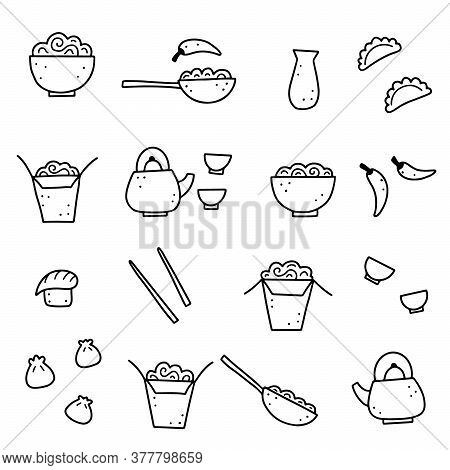 Hand Drawn Set Of Asian Food Elements, Wok, Ramen, Noodle, Soy. Doodle Sketch Style. Asian Food Elem