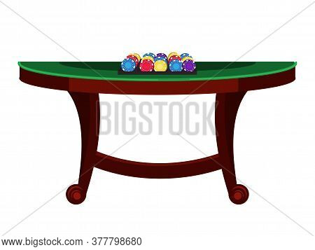 Vector Flat Illustration Of Casino, Poker Green Table And Playing Chips Isolated On White Background