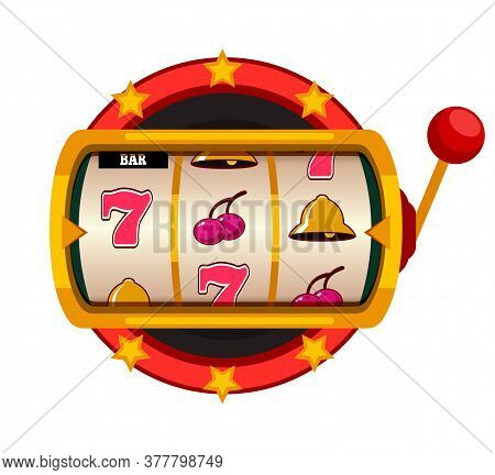 Casino Jackpot Slot Machine Isolated On White Background. One Arm Gambling Device With Seven, Cherry