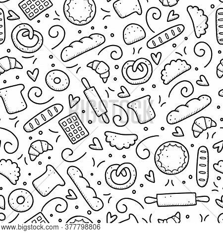 Hand Drawn Seamless Pattern Of Bakery Elements, Bread, Pastry, Croissant, Cake, Donut. Doodle Sketch