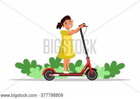 Girl Riding Scooter Flat Illustration. Little Cheerful Kid Alone At Playground Outdoors Cartoon Char