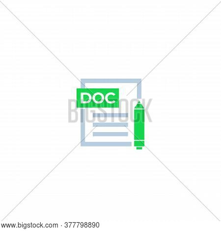 Doc Document Edit Icon, Vector, Eps 10 File, Easy To Edit