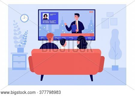 Family Watching News In Living Room. Back View Of Couple And Child Sitting On Couch At Tv. Vector Il