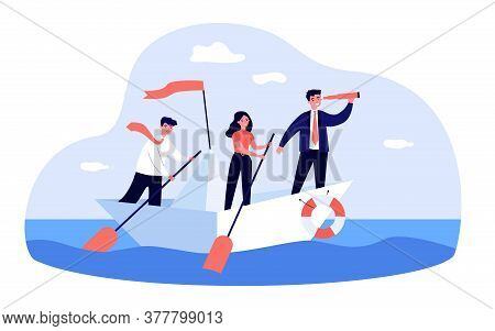 Business Leader With Spyglass Leading His Team In Ocean. Team Of Employee With Paddles Sailing Paper