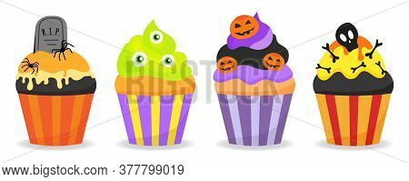Halloween Decorated Cupcakes With Spiders, Pumpkins, Bones, Eyes, Tombstone And Cream. Creepy Desser