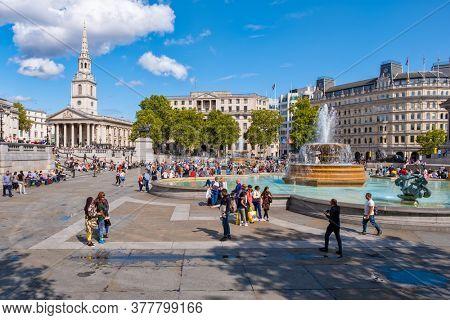 LONDON,UK - AUGUST 19,2019 : Trafalgar Square  in London on a beautiful summer day