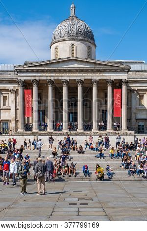 LONDON,UK - AUGUST 19,2019 : The National Gallery, one of the most famous museums in London