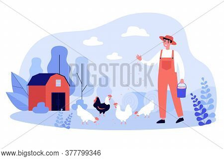 Happy Farmer Breeding Hens. Happy Man Feeding Chickens On Lawn. Vector Illustration For Agriculture,