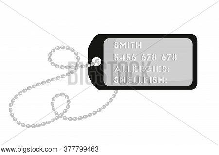Vector Flat Illustration Metallic Soldier Token On Chain, Personal Information Of Serviceman. Milita