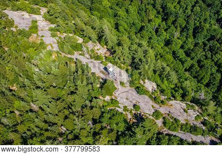 Aerial Scenic View Of Fire Observation Tower At Bald Mountain Adirondacks