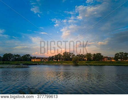 Morning Landscape Of Coast And Peninsula On Odra River In Wroclaw City