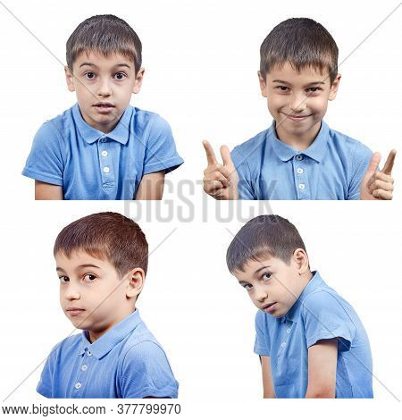 Set Of Emotions Of A Child In A Blue T-shirt Isolated On A White Background