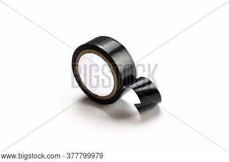 Paper Adhesive Scotch Background. Black Sticky Strip Duct Tape Roll Isolated On White. Torn Grunge T