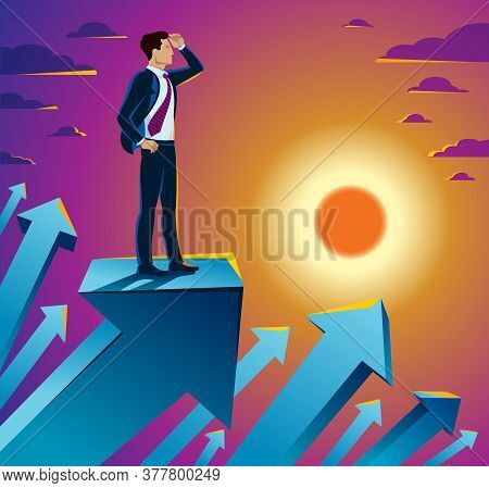 Businessman Looking For Opportunities Business Concept Vector Illustration, Young Handsome Business